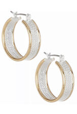 Bay Studio Twisted Rope Hoop Earrings One Size Gold and Silver Hoops NWT