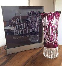 Val St Lambert - imposant vase taille riche 1908 - doublé mauve