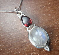 Moonstone and Faceted Garnet 925 Sterling Silver Pendant Corona Sun Jewelry 698g