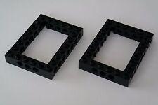 2 LEGO Technic buco foro travi Pietre Cassetta 6x8 Nero Nuovo 40345