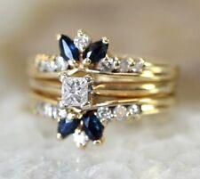 14K YELLOW GOLD, SAPPHIRE, Princess Cut DIAMOND Womens Ring: Size 5.5, 5.4 Grams
