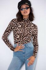 Sexy Womens Leopard Print Bodysuit Ladies Long Sleeve Slim Fit Leotard Tops 6-14