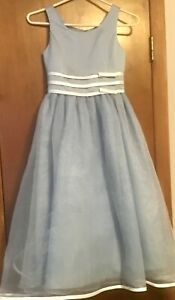 Alfred Angelo Blue with White Accents Flower Girl Special Occasion Dress Size 7