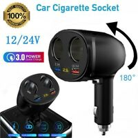 QC3.0 DC 12V Car Cigarette Lighter Adapter Charger 2 Way Plug Socket Splitter