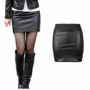 Womens Ladies Pencil Mini Skirt,High Waist Wet Look Faux Leather Mini Skirt