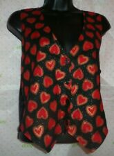 $54 111 Main medium red hearts black gold button vest tie back LINED top