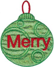 Green Merry Christmas Tree Bulb Ornament Holiday Embroidery Patch