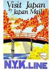 ART PRINT POSTER VINTAGE TRAVEL JAPAN BLOSSOM TEMPLE PAGODA NOFL1531