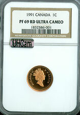 1991 CANADA CENT NGC MAC PR69 RD UHCam ULTRA HEAVY CAM FINEST SPOTLESS *