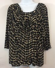 Dressbarn XL Petite 3/4 Sleeve Scoopneck Blouse Black Tan Layered Stretch