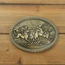 BRONZE HERD OF HORSES METAL BELT BUCKLE COWBOY & WESTERN ANIMAL HEBILLA #125