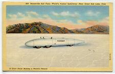 World Speed Record Racer Car Bonneville Great Salt Lake Flats Utah postcard