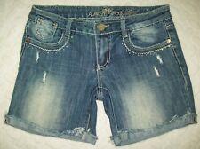 New listing Almost Famous Womens Denim Shorts Size 5 Stretch Distress Rhinestone Embellished