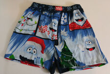 Abominable Snowman Bumble Mens Boxer Shorts Size Small Blue Open Fly 100% Cotton
