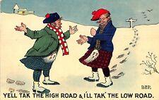 POSTCARD  COMIC   SCOTSMAN  Related   High  Road   Low  Road