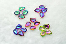 50 pcs 13mm x 18mm Tear Drop Glass Rainbow Color Faceted Glass Jewels
