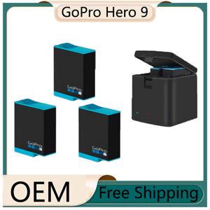 For GoPro Hero 9 Black Action Camera OEM 3 Batteries&3 Charging Slot Charger Box