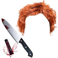 MENS KILLER DOLL WIG FAKE KNIFE BLOOD HALLOWEEN COSTUME KIT ADULT HORROR OUTFIT