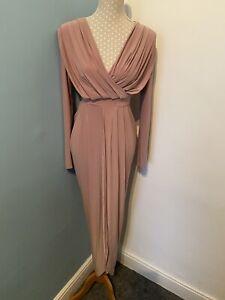 NUDE DUSKY PINK  SIZE 8  Full Length Party Dress V Neck Wrap Over Skirt Backless