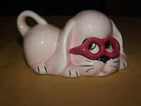 VINTAGE MONEY PINK DOG WITH GLASSES CERAMIC BANK