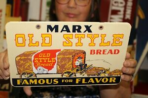 Marx Old Style Bread Grocery Store Bakery Gas Oil Porcelain Metal Sign