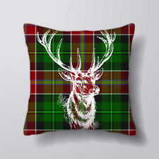 Tartan Deer Stag - Printed Cushion Covers Pillow Cases Home Decor or Inner