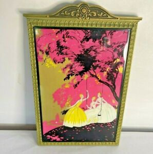 1920's Art Deco Reverse Painting on Glass Women Swing Pink, Yellow & Black Vtg
