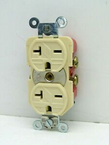 Arrow Hart 5862I Duplex Receptacle Outlet 20A 250V 2-Pole NEMA 6-20R Ivory