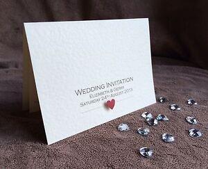 Personalised Handmade Wedding Day & Evening Invitations. Elizabeth