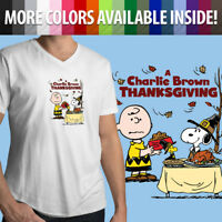 Charlie Brown Snoopy Thanksgiving Classic Peanuts Funny Mens Tee V-Neck T-Shirt