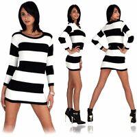 Damen Tunika Minikleid Kleid Longshirt Pullover Pulli Strick Langarm Gestreift