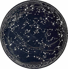Large Framed Print Vintage 1963 Constellations Star Map (Zodiac Galaxy Universe)