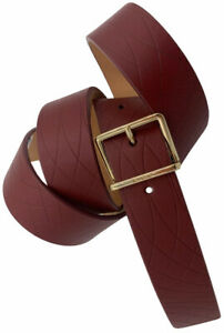 PAUL SMITH MAINLINE BRICK RED REAL LEATHER GOLD BUCKLE BELT SZ-34 BNWT RARE