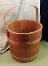 "Vintage Solid Wood Bucket Good Handle 12"" Dia 18.5"" Tall ~ Stave & Hoop Classic"