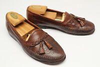 Santoni Mens Tassel Loafers 7 D Brown Leather Medallion Stitch Toe Slip On Shoes
