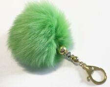 Puschel Fell Taschen Anhänger #1523 grün-gold Schlüsselanhänger TOPANGEBOT
