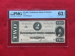 T-70 1864 $2 Two Dollar CSA Confederate Note *PMG 63 EPQ Choice Unc*