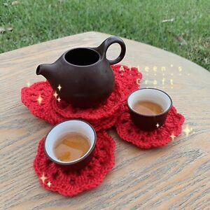 Xmas 4pcs Aileen's Handmade Crochet tea coffee coaster craft
