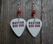MLB Boston Red Sox Guitar Pick Earrings with Red Pave Beads