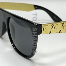Fashion Men Square Weed Gold  Arms Aviator Style NEW Shades Dark Lens Sunglasses