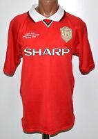 MANCHESTER UNITED 1998/1999 HOME FOOTBALL SHIRT JERSEY SCORE DRAW RETRO REPLICA