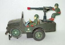 Vintage Old Rare Battery Jeep With Soldier And Gun Litho Jeep Tin Toy, Japan
