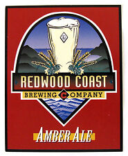 Redwood Coast Brewing AMBER ALE beer label table display advert insert