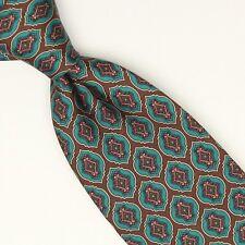 Aquascutum Silk Necktie Brown Green Red Paisly Geometric Print England Tie
