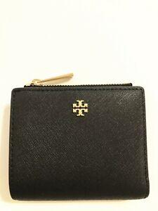 NWT Tory Burch Emerson Mini Leather Wallet Black
