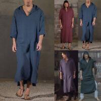 Men's Muslim Arab Saudi Hooded Kaftan Dubai Islamic Ethnic Tunic Tops Robe Thobe