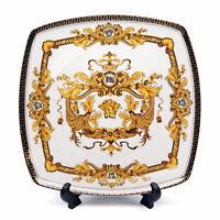 """Royalty Porcelain White 10"""" Dinner Plate, Medusa Greek Key 24K Gold, 1-pc"""