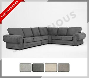 EXTRA EXTRA LARGE Verona Corner Sofa Full Formal Back Chesterfield Fabric Grey