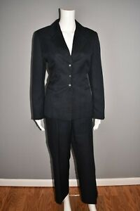 TAHARI ASL $168 Navy Textured 2 Piece Pant Suit Blazer Size 10P