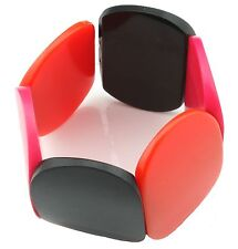 Zest Pretty Elasticated Chunky Tile Bracelet Black Orange & Hot Pink